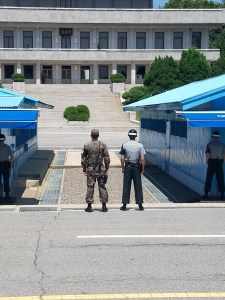 The line at the DMZ separating North and South Korea.