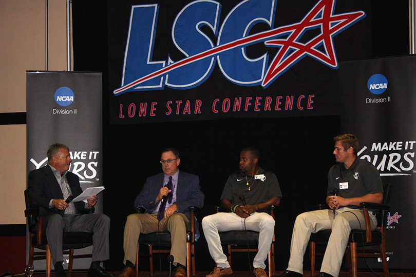 Tarleton State was represented at LSC Media Day by head coach Todd Whitten, second from left, Bubba Tandy and Chase Varnado. || TheFlashToday.com photo by BRAD KEITH
