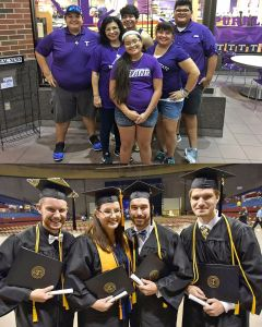 Meet the Noles Family (top photo, back row l-r): Joseph Puente, Daniel Raya, Rudy Puente Jr.; (middle, for) Mireya Raya, Carmen Noles; and (front) Abigail Puente. The Waddell family has four enrolled at Tarleton, including (l-r) Matthew, Jody, Neil and Benjamin. (Photos contributed)