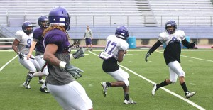 Dominique Martin's transition to cornerback from wide receiver during preseason camp included this interception on the first day Tarleton donned full pads.    TheFlashToday.com photo by BRAD KEITH