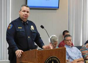 Police Chief Jason King presented a grant to the Stephenville City Council seeking approval for body cameras.