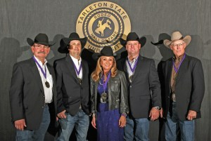 "Members of the 2016 class of inductees joining the Tarleton State University Rodeo Hall of Fame are (l-r) Ronnie Ray, Levi Garcia, Debbie Garrison, Kurt Kiehne and Richard ""Tooter"" Waites. Tarleton held its annual Rodeo Hall of Fame induction ceremony on Saturday, Nov. 12."