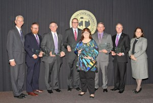 Former students returned to campus Nov. 16 for the 24th annual Tarleton State University Alumni Academic Forum. Pictured (l-r) are President F. Dominic Dottavio, Paul Casey, Dr. Ted M. Pettijohn, Glenn West, Christy West, Michael Honea, Ken Dorris and Dr. Karen Murray, Provost and Vice President for Academic Affairs.