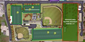 Tarleton State University is reviewing plans to create an additional parking area on university-owned property south of Washington Street and east of the Cecil Ballow Baseball Complex. The area being considered is shaded in green in the illustration above.
