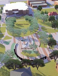 Landscape architect's rendering of the Campus Green in the heart of the Tarleton State University.