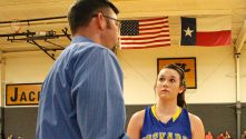 Huckabay head coach Caleb Walls is shown earlier this season talking to Kailin Dowell, who poured in 16 points Friday. || TheFlashToday.com file photo