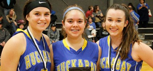 Huckabay stalwarts Presli Bray, Emmy Rodriguez and Kailin Dowell combined for 54 points Tuesday. || TheFlashToday.com photo by BRAD KEITH