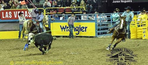 Kaleb Driggers and Junior Nogueira, 2016 NFR || Courtesy DUDLEY BARKER/dudleydoright.com