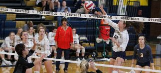 jayci Morton was one of three Stephenville hitters to record double-digit kill totals Tuesday. She is shown killing one against Godley last week. || The Flash Today / JESSIE HORTON