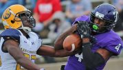Jeff Thomas was in tough battles all day Lion defensive backs. He did haul in a 25-yard over the shoulder touchdown from Zed Woerner, part of a Tarleton rally that fell short on his senior day at Memorial Stadium. || The FlashToday/Russell Huffman