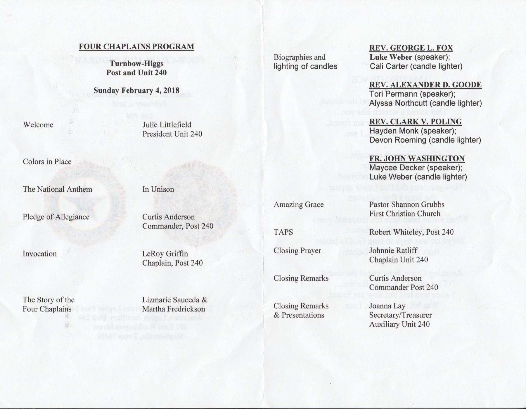 Four Chaplains Program 1a Program agenda