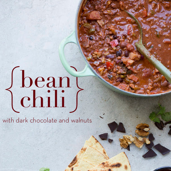 Bean Chili with Walnuts & Chocolate [vegetarian] by Green Kitchen Stories