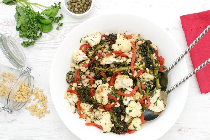 Purple Sprouting Broccoli & Cauliflower Salad with Salsa Verde [vegan] by The Flexitarian