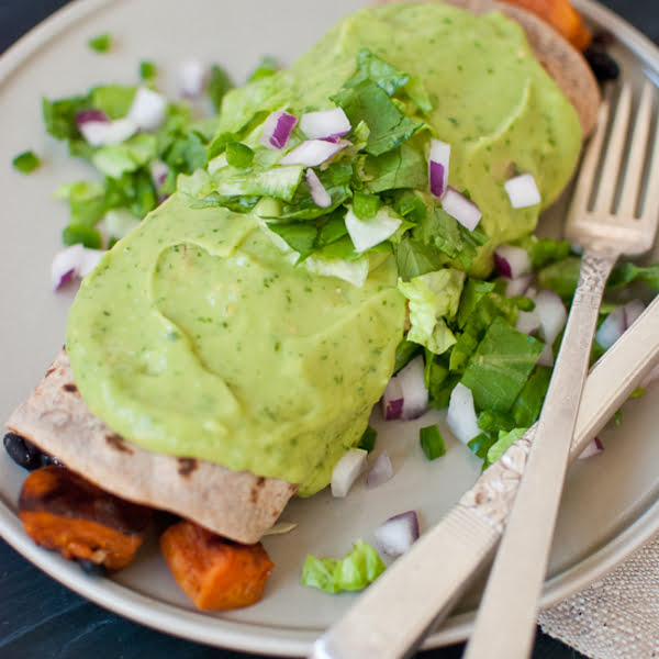 Sweet Potato Burrito Smothered in Avocado Salsa Verde [vegetarian] by Cookie + Kate