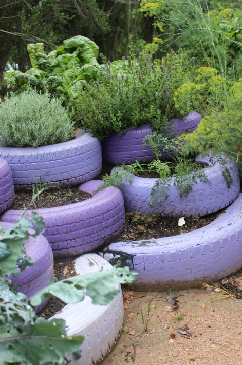 Recycled Tyres Herb Garden via Master of Hort