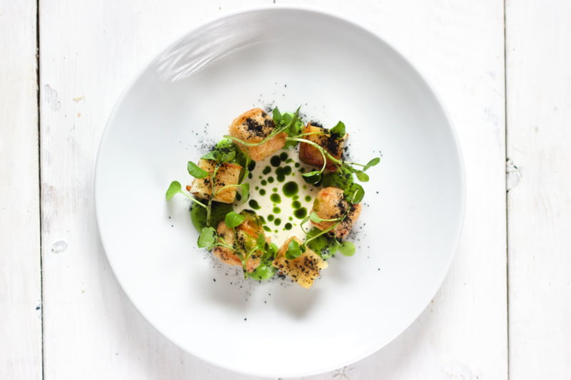 Battered Halloumi, Potato Terrine, Lemon & Dill [vegetarian] by Eddie Shepherd