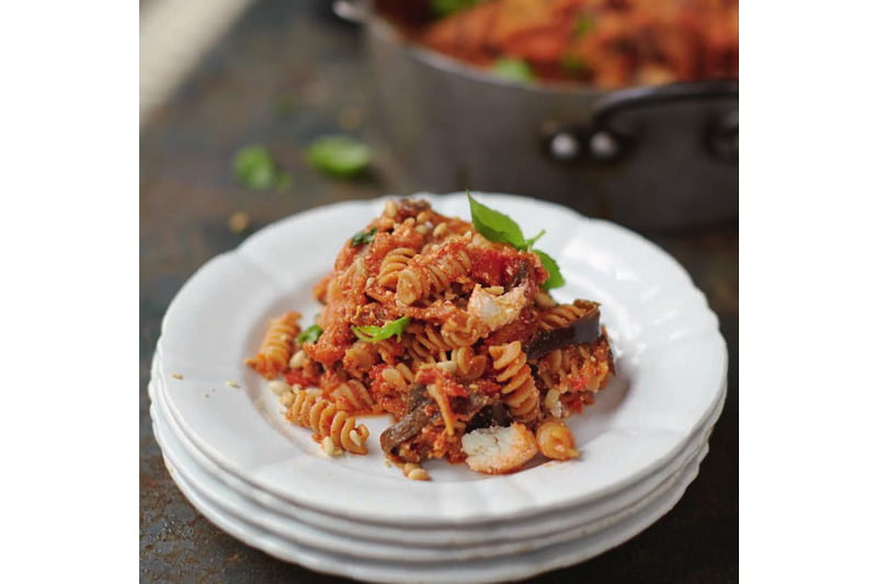 Happiness Pasta with Sweet Tomato, Aubergine & Ricotta by Jamie Oliver [flexitarian]