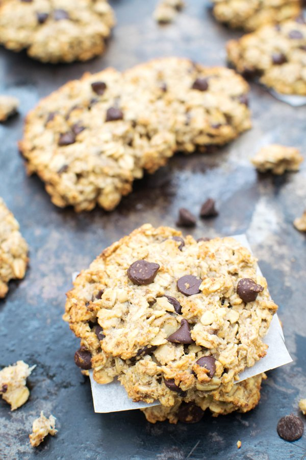 Chewy Banana & Chocolate Chip Cookies [vegan]  [gluten free]