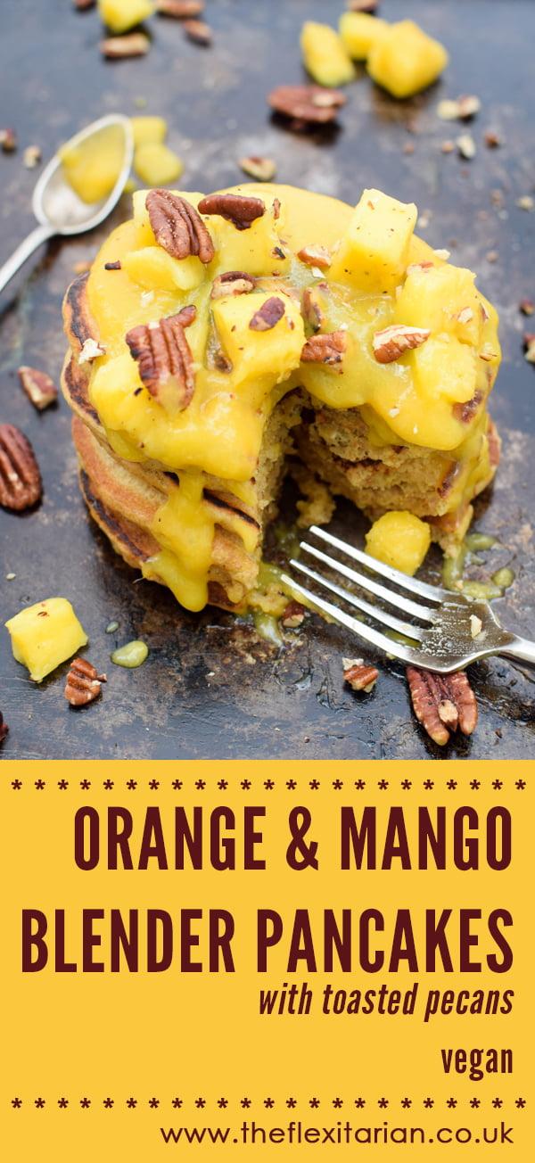 Orange & Mango Blender Pancakes With Toasted Pecans [vegan] by The Flexitarian