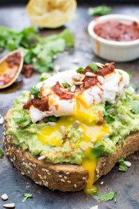 Smashed Avocado Toast with Poached Egg & Harissa [vegetarian]