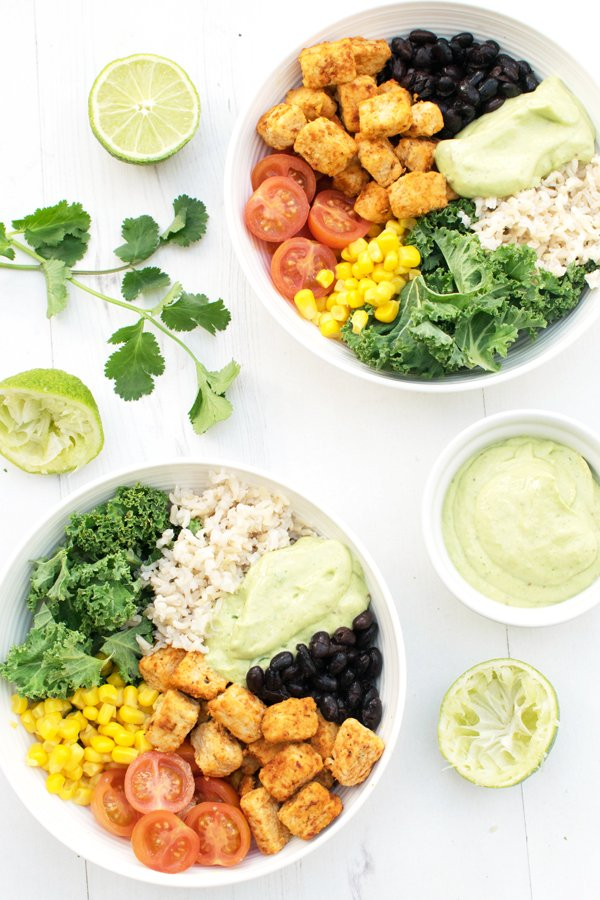 Recovery Protein Bowl with Quorn + Creamy Chipotle Avocado Dressing [vegetarian] by The Flexitarian