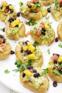 Crushed Baby Gem Potatoes with Black Bean Salsa & Guacamole [vegan] [gluten free] by The Flexitarian