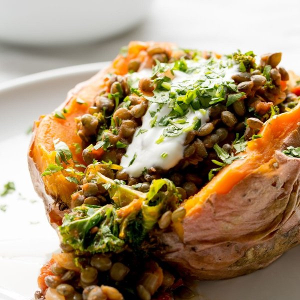Stuffed Sweet Potatoes with Lentils, Kale and Sun Dried Tomatoes [vegetarian] by Lauren Caris Cooks