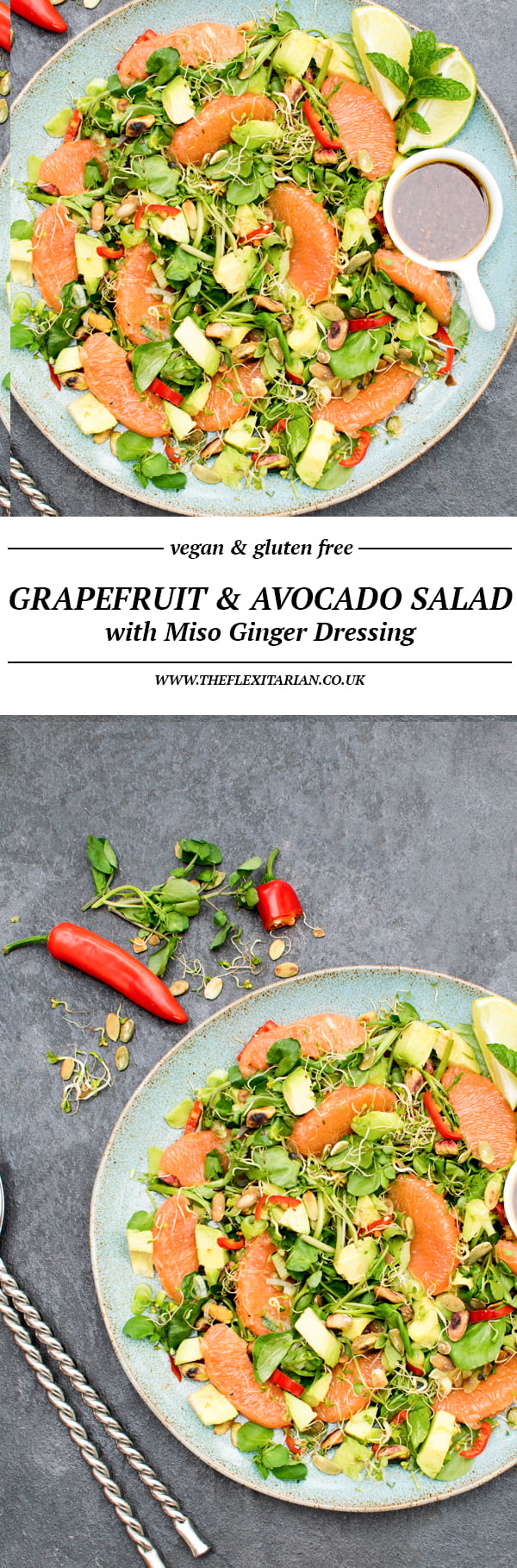 Grapefruit & Avocado Salad with Miso Ginger Dressing [vegan] [gluten free] by The Flexitarian