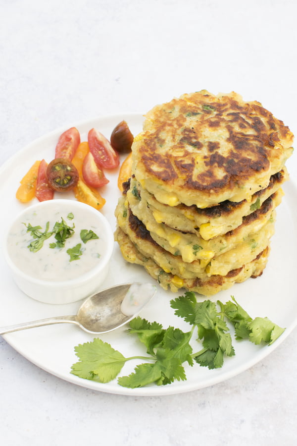 Corn Fritters with Sweet Chilli Dip [vegetarian] © The Flexitarian - Annabelle Randles