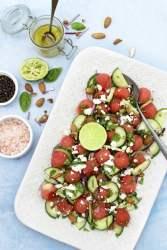 Watermelon Salad with Cucumber & Feta [vegetarian] - The Flexitarian