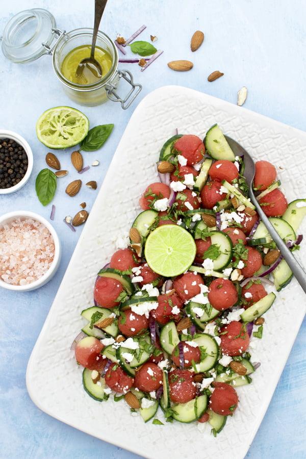 Watermelon Salad with Cucumber & Feta [vegetarian] © 2019 - The Flexitarian