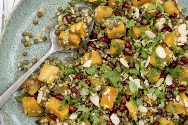 Roasted Butternut Squash Salad with Bulgur Wheat and Lentil 2019 © Annabelle Randles The Flexitarian