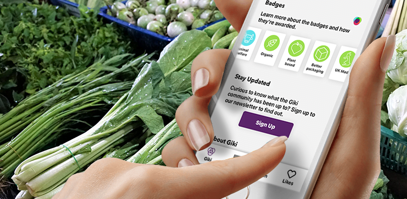 Giki App Launches New Plant Based Badge