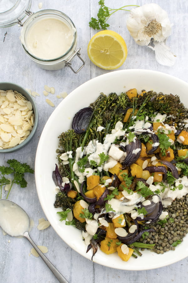Roasted Butternut Squash, Broccoli and Lentil Salad With Tahini Dressing 2020 © Annabelle Randles | The Flexitarian | Le Flexitarien