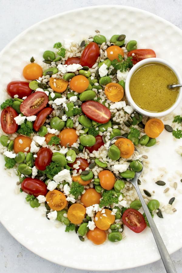 Broad Bean, Tomato & Barley Salad   The Flexitarian