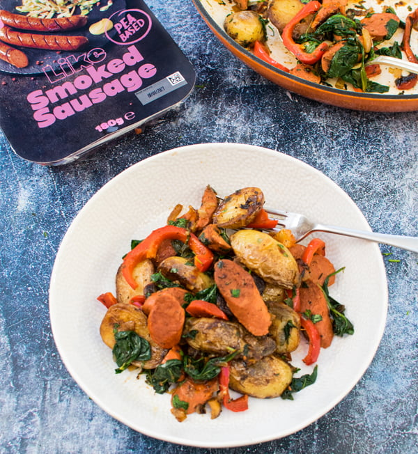 Like Meat Sausage and Potato Casserole on Plate by The Flexitarian