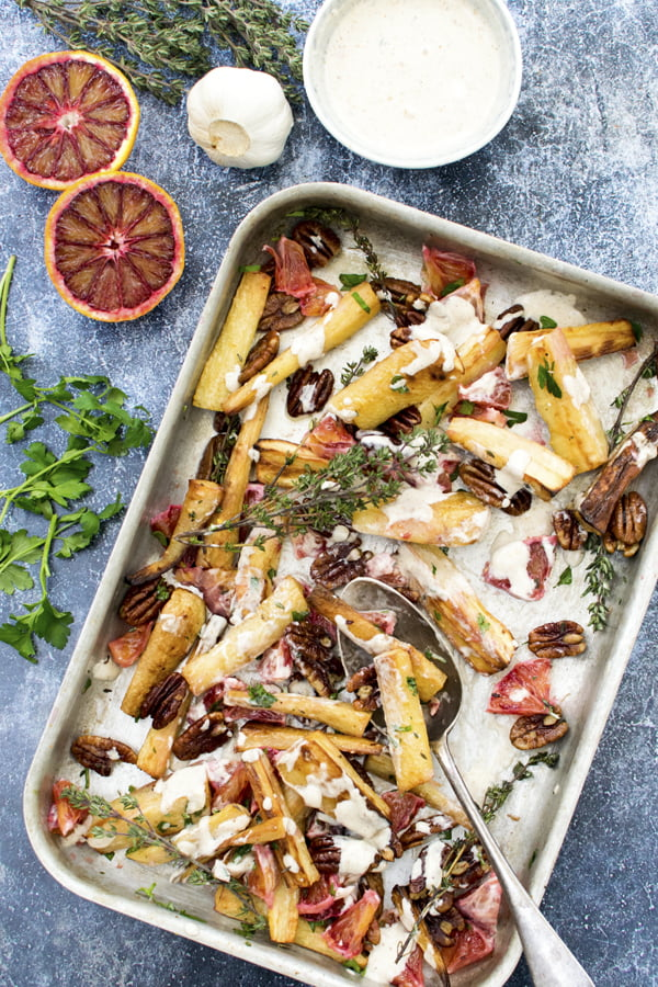 Roasted Parsnip and Orange Salad [vegan] [gluten free]