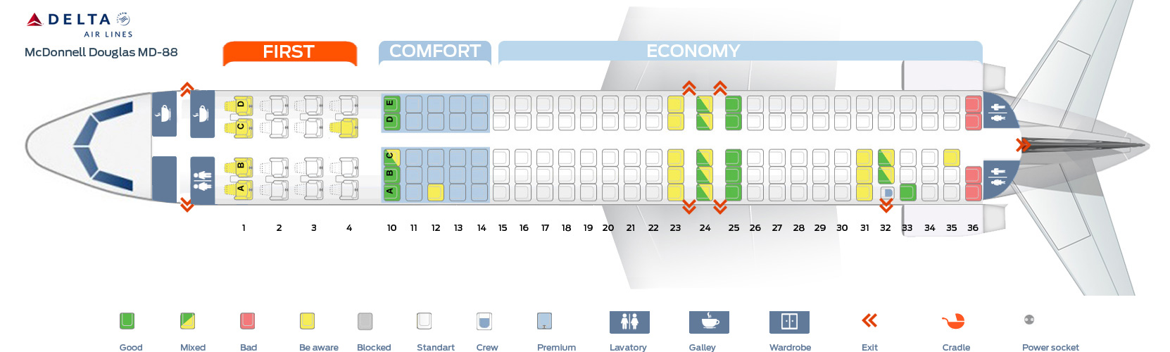 hight resolution of seat map of the mcdonnell douglas md 88