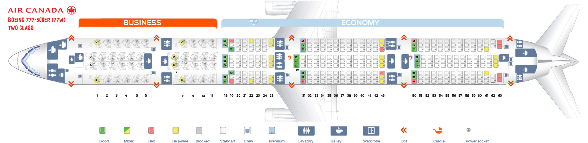 Seat map Boeing 777-300 Air Canada. Best seats in plane