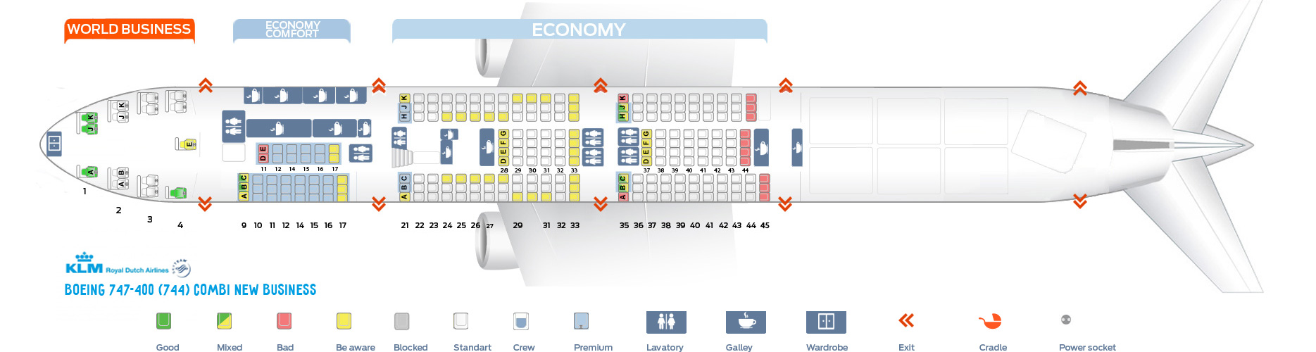hight resolution of seat map boeing 747 400 combi new business klm airlines