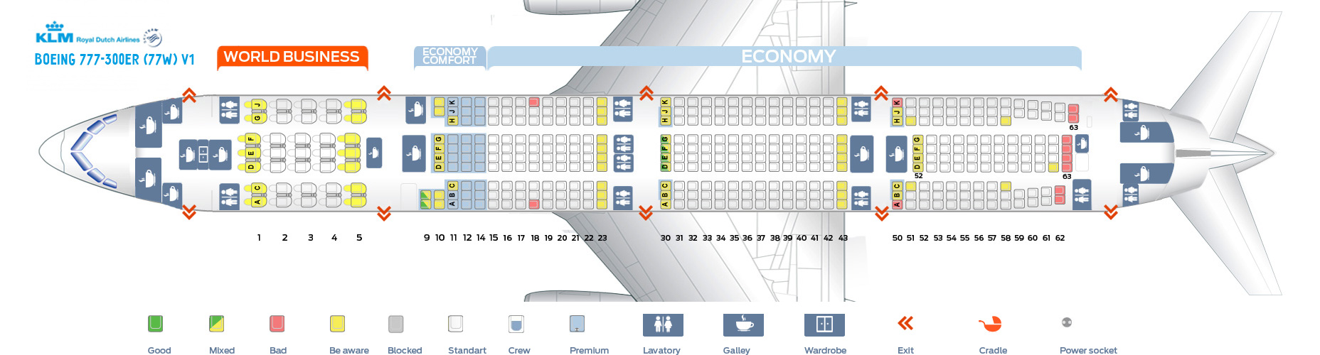Seat map Boeing 777-300 KLM. Best seats in the plane