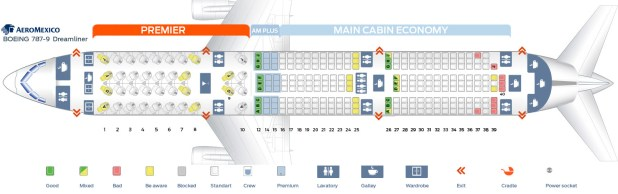 Seat Map Boeing 787 9 Dreamliner Aeromexico Best Seats In The Plane