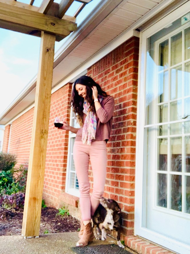 spell & the gypsy lovebird scarf pretty girl puppy AG farrah sateen skinny jeans sulfur pale wisteria red wine western boots spring style
