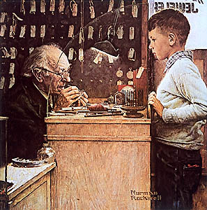 norman rockwell clock maker