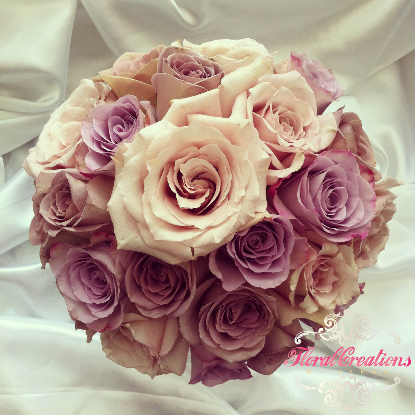 Vintage Rose Cascade Bouquet  Floral Creations by Reena