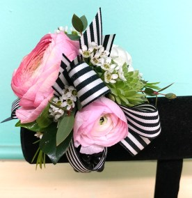 Prom Corsage Pink with black white stripe ribbonjpg
