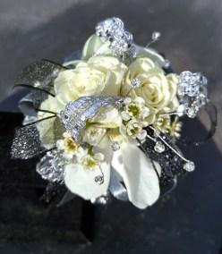 Prom Corsage Silver White