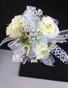 Prom Corsage White Silver Sparkles