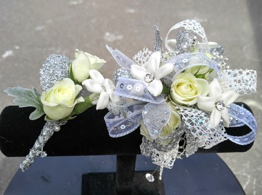 Prom Corsage and Boutonniere White Flowers
