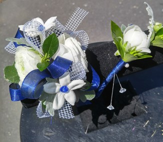 Prom Corsage and Boutonniere White and Blue NC